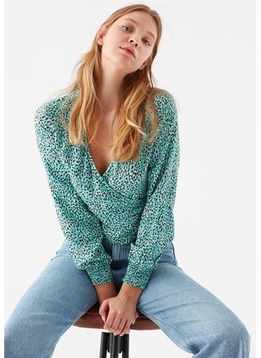 Mavi Leopar Baskılı Yeşil Bluz Yeşil